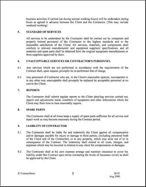 printable cleaning contract template form generic