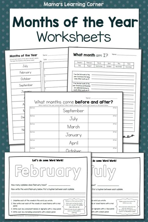 Months of the Year Worksheets - Mamas Learning Corner