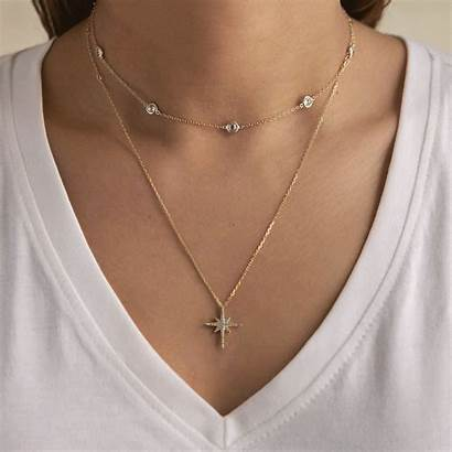 Layered Celeste Chain Crystal Choker Duo Necklace
