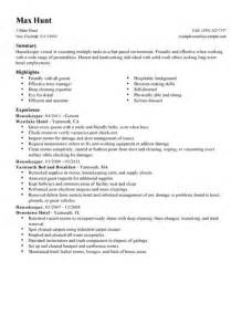 resume for housekeeping in hotel housekeeper resume exle hotel hospitality sle resumes livecareer
