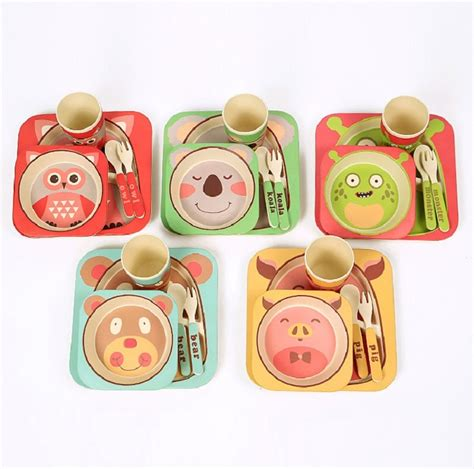 dinnerware bamboo tableware fiber plate feeding square food animals dishes printing children sets environmental bowl 5pcs spoon garden cup baby