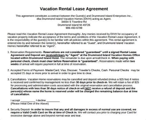 vacation rental agreement  documents