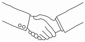 Black and White Handshake Line Art - Free Clip Art