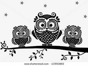 black and white illustration vintage owl fairy tale ...