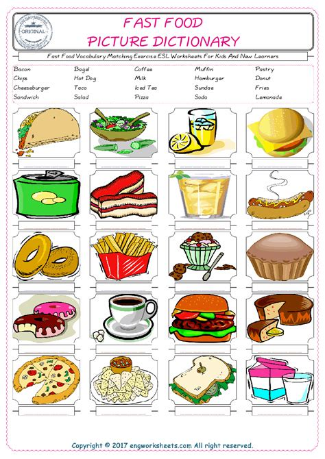fast food vocabulary matching exercise esl worksheets for