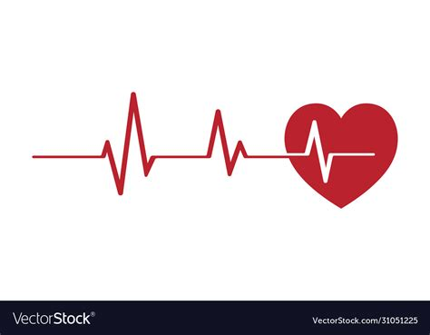 Red heartbeat pulse line Royalty Free Vector Image