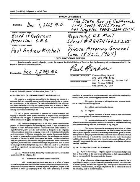 ninth proof  service subpoena   bar licenses