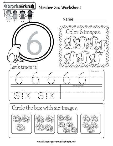 number six worksheet free kindergarten math worksheet for kids