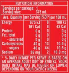 coca cola nutrition facts label
