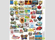 World Travel Fridge Magnets Editorial Stock Image Image