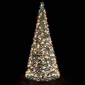 pre lit snow flocked pop  christmas tree   warm