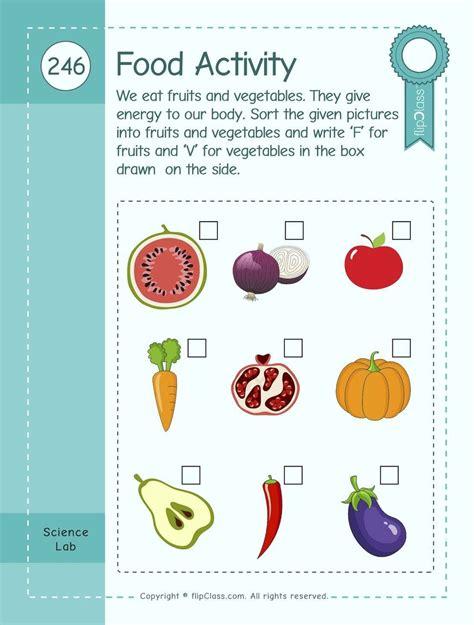 sorting fruits  vegetables worksheets