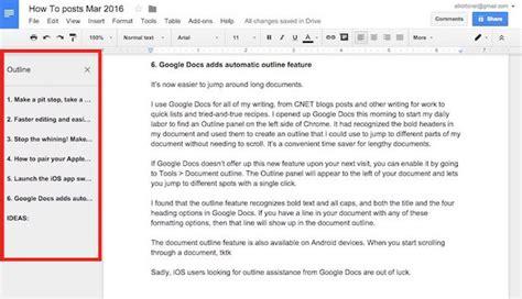 google docs outline docs adds automatic outline feature cnet