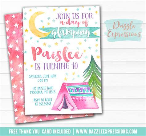 printable glamping watercolor birthday invitation
