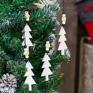 Set Of 4 Wooden French Christmas Tree Decorations