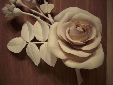 fine woodcarving  real rose finewoodworking