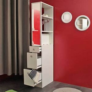 Colonne Pour Salle De Bain : colonne salle de bain 3 tiroirs 1 miroir blanc ~ Dailycaller-alerts.com Idées de Décoration