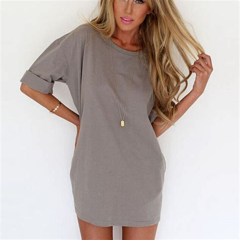 women mini dress short sleeve chiffon loose long blouse