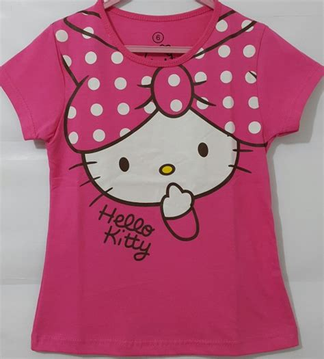 kaos anak perempuan hello baju anak hello pita pink polkadot 1 6 grosir