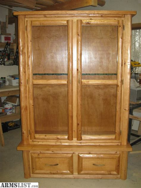 Gun Cabinets For Sale by Armslist For Sale Trade Custom Log Gun Cabinet