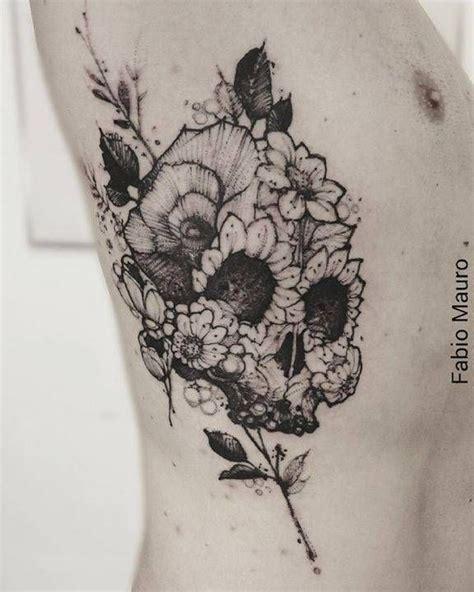 sketch work floral skull tattoo    side tattoo artist fabio mauro tattoos