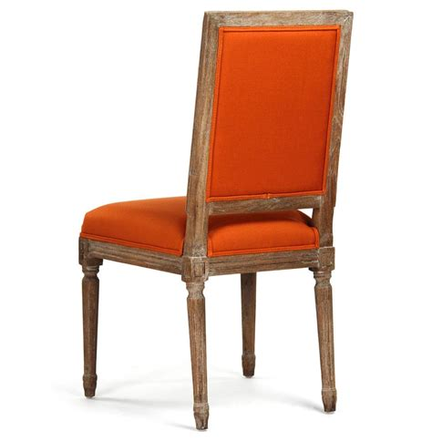 pair louis xvi orange tufted linen dining side chair