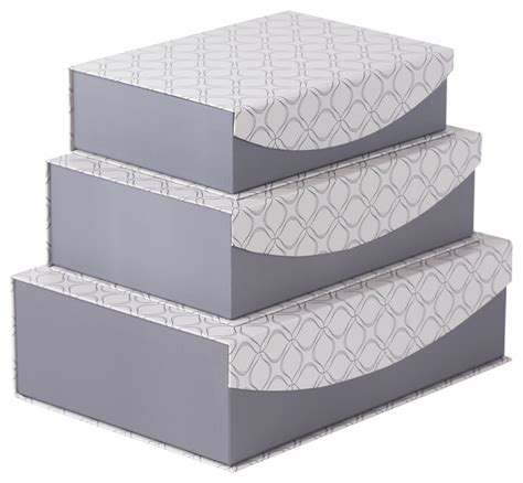 magnetic lid storage boxes with grey geometric design set