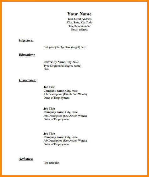 Doc Resume Template by 9 Blank Resume Template Doc Cashier Resumes