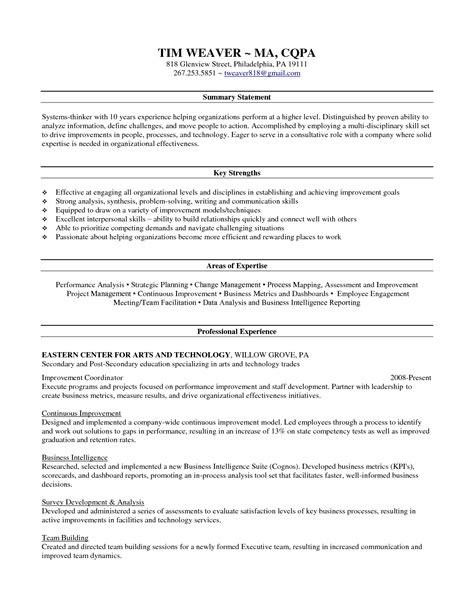 area of strength in resume resume ideas