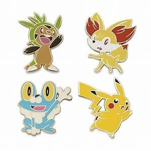 Chespin, Fennekin, Froakie, and Pikachu Pokémon Pins (4-Pack)