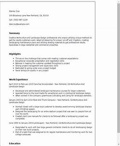 professional horticulture and landscape design templates With landscaping resume examples
