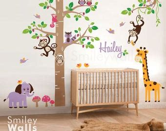 kids wall decal forest animals squirrels owl   oak tree
