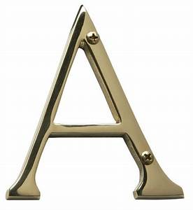 Brass accents 4quot solid brass house letters for Brass house letters