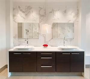 Bathroom backsplash ideas for public space bathroom for Innovative bathroom vanity backsplash ideas
