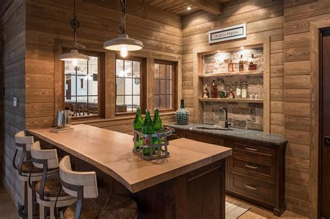 cabin style  edge wet bar country kitchen
