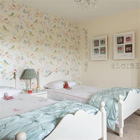 girls twin bedroom  bird wallpaper childrens room