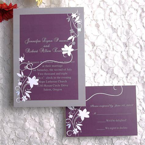 cheap rustic floral plum wedding invitations ewi