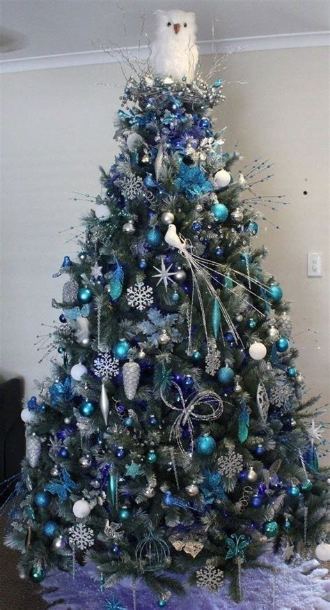 decorated frosted christmas tree new hshire blue frosted gorgeous blue and white decorations http www mychristmas com au