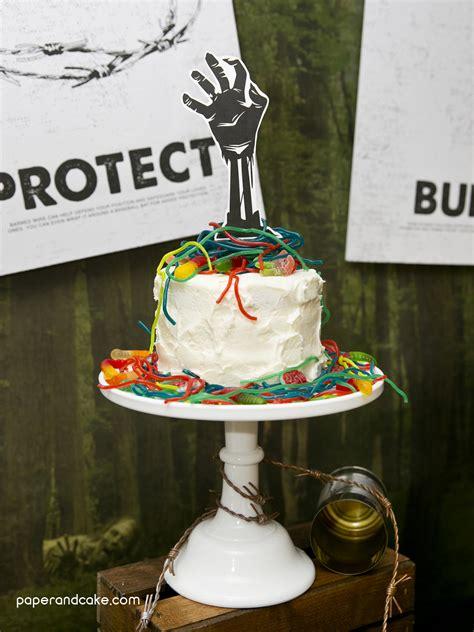 zombie birthday cake diy party paper themed paperandcake halloween decorations
