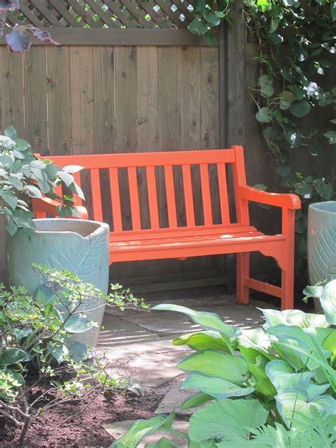 garden design details painted wood diy bench outdoor