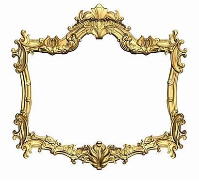 Frame Gold Golden Carving Flower Ornament Carved