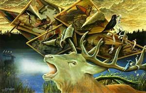 Gemälde Hirsch Modern : bild r hrender hirsch landschaft wildnis natur rotwild von angerer der ltere bei kunstnet ~ Orissabook.com Haus und Dekorationen
