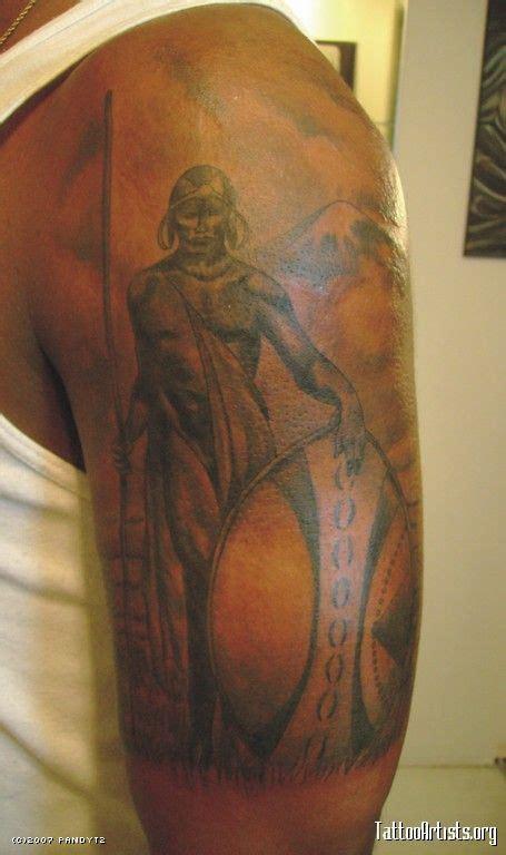 attractive african warrior tattoo  left  sleeve