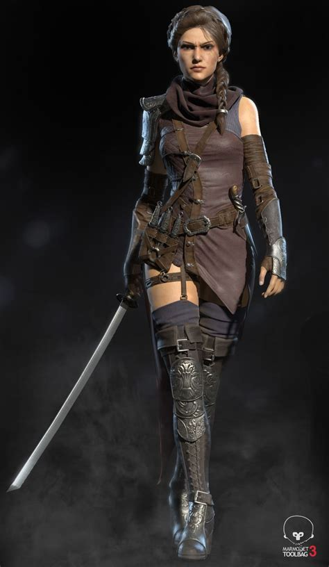 assassin female rogue character sword warrior ranger fantasy leather dagger armor assasin throwing characters artstation thief knives urban concept dnd
