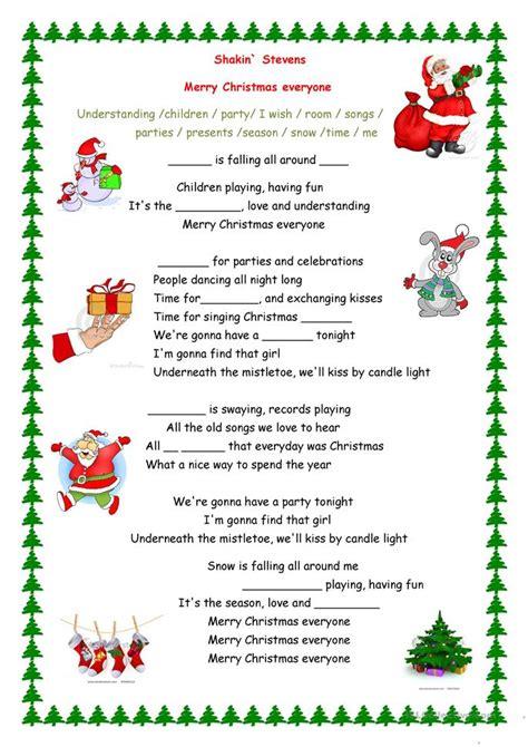merry christmas  song worksheet  esl