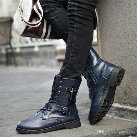 Knight Boots For Man Belt Buckle Lace Round Toe Men