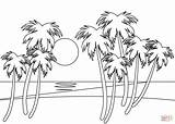 Coloring Beach Pages Tropical Printable Drawing sketch template