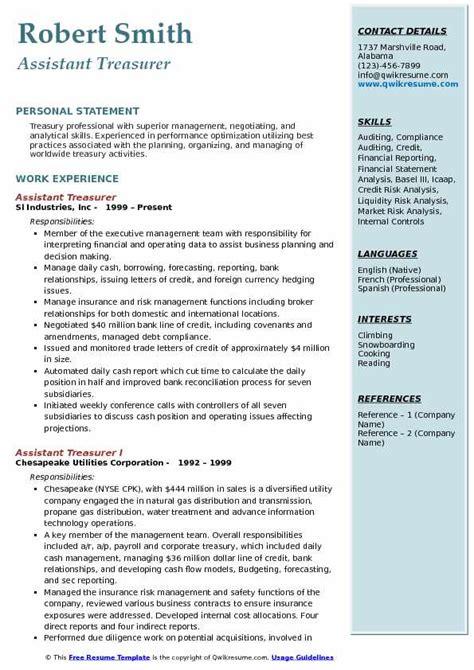 resume  treasurer memo heading