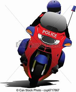 Vectors Illustration of Policeman on police motorcycle on ...