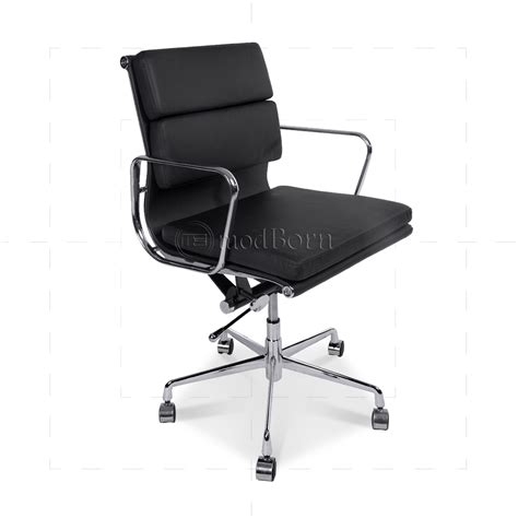 ea217 eames style office chair low back soft pad black leather